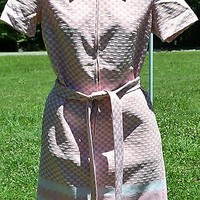 Vintage 1960's Shift Dress M L Pink Brown White Polyester 60s Retro Mid-Century