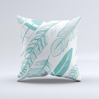 The Teal Feather Pattern ink-Fuzed Decorative Throw Pillow