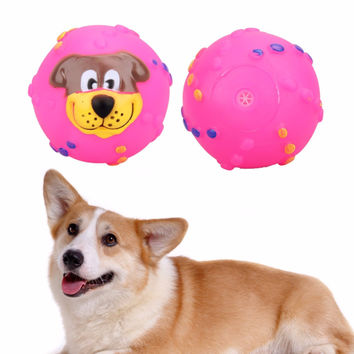 Cat Dog Toys Soft Rubber Dog Face Chew Squeaker Squeaky Toys for Dog Cat Funny Training Toy Pet Supplies