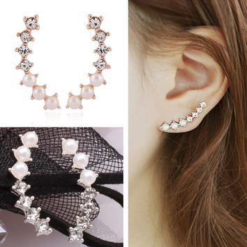 ES054 Simulated Pearls Stud Earrings Bijoux Fashion Jewelry Crystal Women Wedding Engagement Accessories Earing