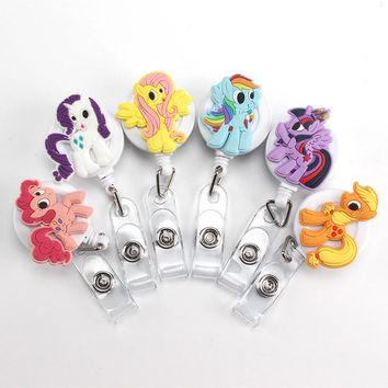 Washi Nurse Retractable Badge reel  ID Card Clip ID Badge Cute Little Colt Name Tag Card Holder Reel For School Office Company
