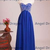 Angel Dragon Hot Party Evening Rhinestones Beading Chiffon Blue Long Prom Dresses