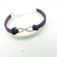 Purple Braided Rope and White Braided Leather Steampunk Bracelet Antique Silver Karma Bracelet,infi
