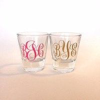 Monogrammed Shot Glass, Customized Shot Glass, Bridesmaid Gifts, Wedding Favor, 21st birthday gift, 21st birthday