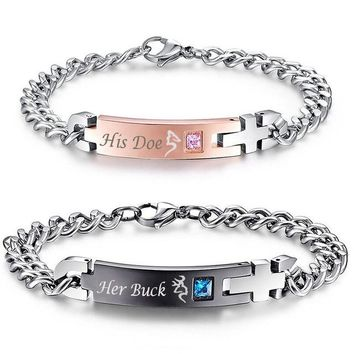 His Doe & Her Buck Bracelets - 2pcs