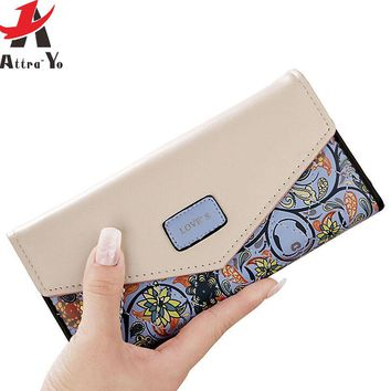 Attra-Yo women wallet leather bag women's wallet luxury brands dollar price credit card small long style purse printing LM4163ay