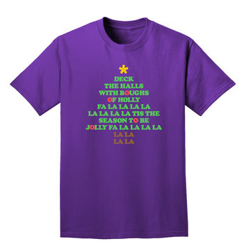 Deck the Halls Lyrics Christmas Tree Adult Dark T-Shirt