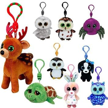 10CM Mini Original Ty Plush Toys Beanie Boos Big Eyes fox unicorn Keychain Stuffed Doll TY Baby Kids Gift