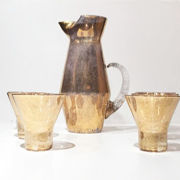 Mid Century Gold Sparkle Cocktail Pitcher Set, Cocktail Pitcher Apollo Tumblers, Cocktail Set, Serving Pitcher with 6 Glasses, Gold Barware
