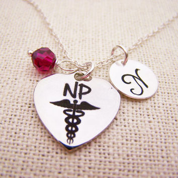 Nurse Practitioner Necklace -  Swarovski Birthstone - Custom Initial - Personalized Sterling Silver Necklace / Gift for Her - Gift for Nurse