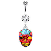 Sugar Skull Dangle Navel Ring