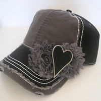 Two Tone Grey and Black Trucker Baseball Cap Hat with Grey Chiffon Flowers and Beautiful Unique Black and Silver Heart Accent