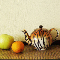 Vintage tiger stripes teapot, ceramic classic teapot with tiger stripes, early nineties