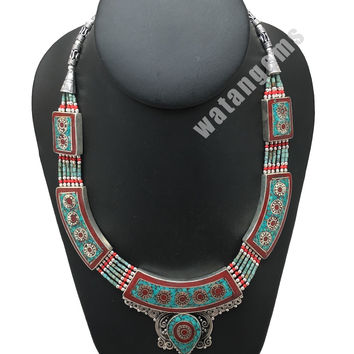 Ethnic Tribal Green Turquoise & Red Coral Inlay Boho Statement Necklace, NPN60