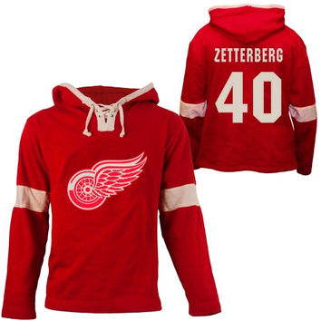 Old Time Hockey Henrik Zetterberg Detroit Red Wings Grant Lace Alum Name & Number Pullover Hoodie - Red