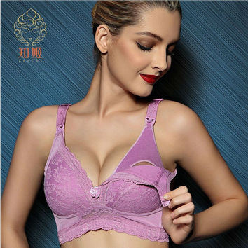 ZeeChi Maternity Nursing Bra for Breast Feeding Cotton Front Closure Pregnant Women Underwear upper opening B C D E F Cup  A103N
