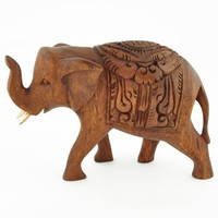 Carved Wooden Elephant Sculpture