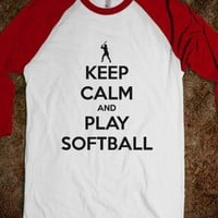 Keep Calm and play softball t shirt