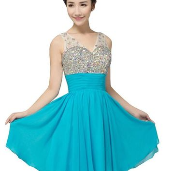 Drasawee V Neck Sequins Beaded Short Prom Dress For Junior Brithday Party