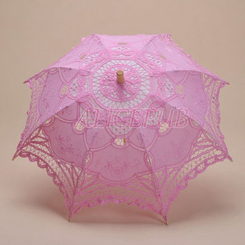 Flower Girl Umbrella, Pink Flower Girl Parasol, Floral Lace Wedding Umbrella, Lace Kids Umbrella, Wedding Parasol Party Decoration HTS13A-2