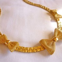 Vintage Gold Tone Necklace with Mesh Bows