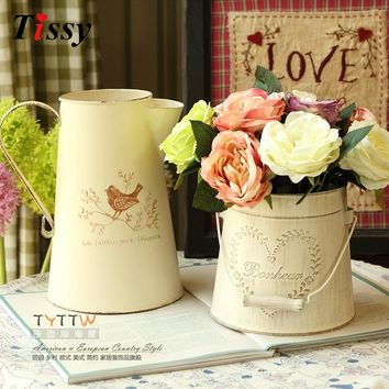 2 Types Available Fashion Vintage Retro Iron Tub For Home Table Decoration Flower Vase Pot Wedding Decoration European Style