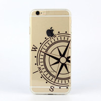 iPhone 6 case iPhone 6s case painted black compass transparent silicon iPhone 6 plus case - TS6034