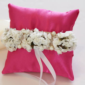 Hot Pink Ring Pillow for Dogs, Ivory White Flowers on Pink Pillow, Wedding Dog Accessory