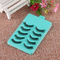 5 Pairs Of Women Short Cross False Eyelashes Daily Handmade Fake Eye Lashes Makeup Beauty Cosmetic Tool