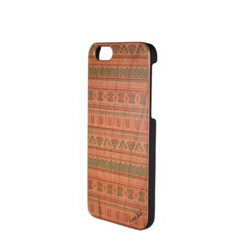 Painted Wood Phone Case - Aztec Pattern - iPhone 5/5s/SE, 6, 7