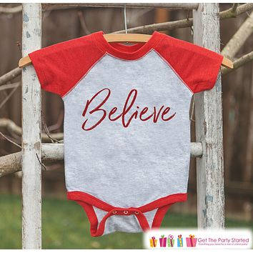 Kids Christmas Shirts - Believe Christmas Outfit - Religious Sibling Christmas Shirt or Onepiece - Boy or Girl - Kids, Baby, Toddler, Youth