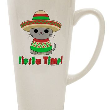 Fiesta Time - Cute Sombrero Cat 16 Ounce Conical Latte Coffee Mug by TooLoud