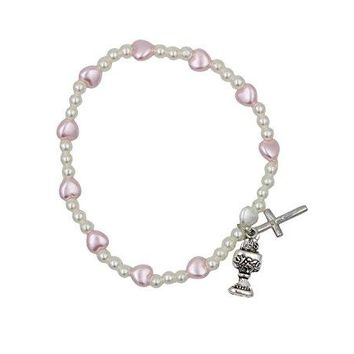 AUGUAU Girl's First Communion Stretch Rosary Bracelet with Heart Shaped Beads with Crucifix and Chalice Charm