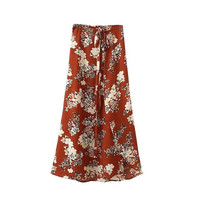 Women's Fashion Summer Bohemia Split Print Beach Waistband Skirt [4920260612]