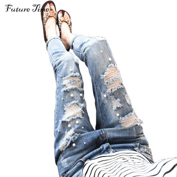 New women jeans 2017 hole ripped jeans pencil pants Embroidered Flares hollow out washed jeans boyfriends jeans pant femme C1031