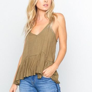 Annabelle Racerback Tank - Olive