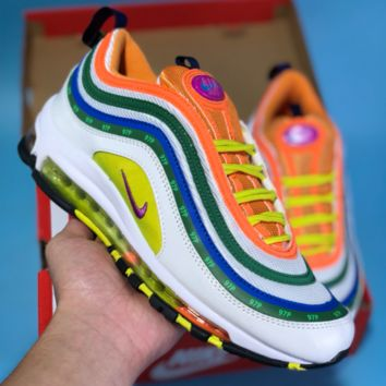 HCXX N438 Nike Air Max 97 Bullet Series Full Palm Air Cushion Sports Casual Running Shoes Green Orange
