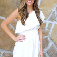 Unconditional Love One Shoulder Dress: White | Hope's