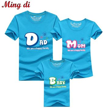 "Ming Di New Casual Summer Style Brand Mother Daughter T-Shirt ""Dad"" ""Mom"" ""Baby"" Matching Family Clothes Father Son Clothes"