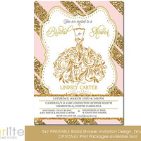 Wedding Gown Bridal shower invitation - Pink Gold Glitter Stripes - 5x7 - Unique Bridal Shower invitation - vintage style - You Print
