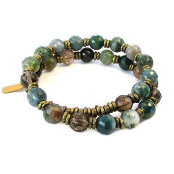 Moss Agate and Smoky Quartz 27 Bead Mala Bracelet