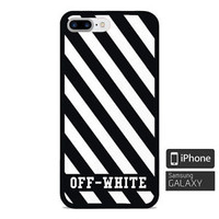 Top Off-White Logo Stripe Fit Case For iPhone 6 6s 7 8 Plus X Samsung Cover
