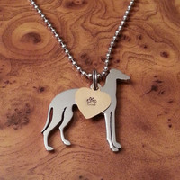 Stainless Steel Greyhound Pendant, Greyhound Necklace, Whippet Necklace, Whippet Pendant, Breed Pendant, Stainless Steel, FREE SHIPPING!