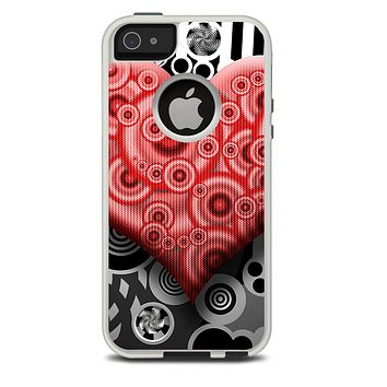The Industrial Red Heart Skin For The iPhone 5-5s Otterbox Commuter Case