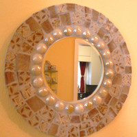 Soft Browns China  Mosaic Round Mosaic Mirror   Pique Assiette