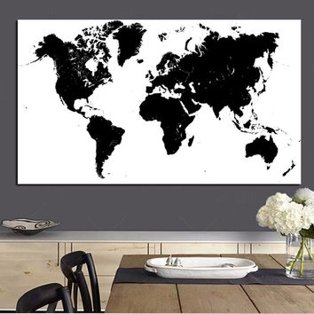 Large Size Abstract Black and White World Map Modern Painting on Canvas Poster Print Wall Art Picture for Living Room Cuadros