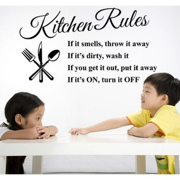 Lettering Art Quote Kitchen Rules Living Room Kitchen Vinyl Wall Sticker Wall Decoration