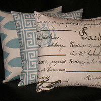 """Pillows Decorative Pillows TRIO Ikat, Greek Key, French Script 20x20 inch Throw Pillow Covers 20"""" spa blue on natural"""