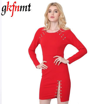 gkfnmt 2017 Sexy Women Dress Cross Straps Long Sleeve Bodycon Bandage Red Dress Mini Club Slits zip Dress robe de mariage