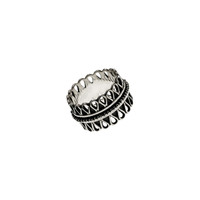 Cold Lock Embroidered Sterling Silver Spinner Ring